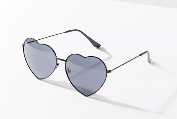 A pair of heart-shaped sunglasses in black.