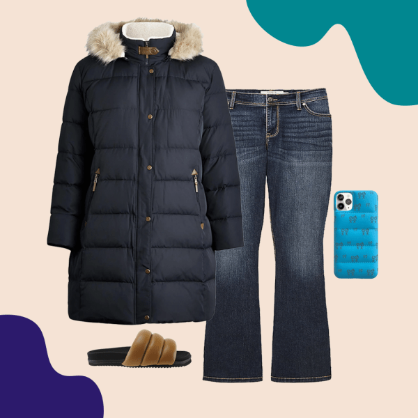 A navy puffer coat, jeans, blue puffer phone case, and brown puffer sandals.