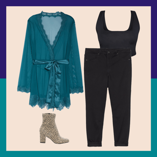 A teal robe, leopard print booties, black jeans, and black crop top.