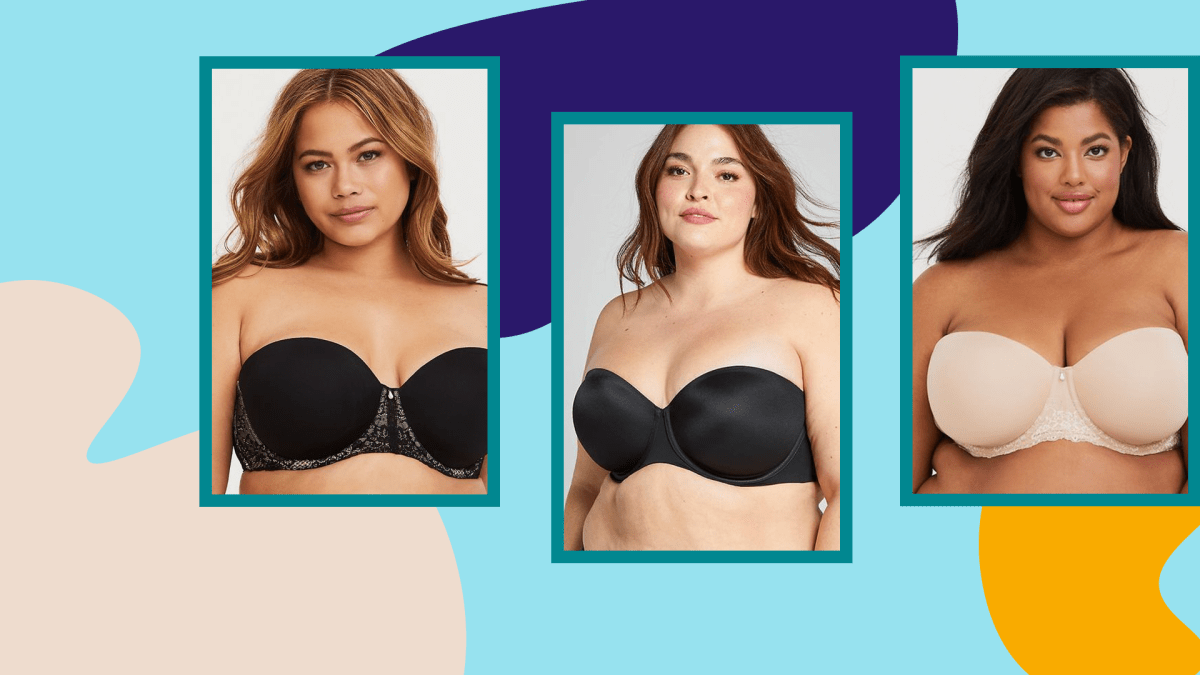 Two models wearing plus-size black strapless bras and a model wearing a plus-size beige strapless bra.