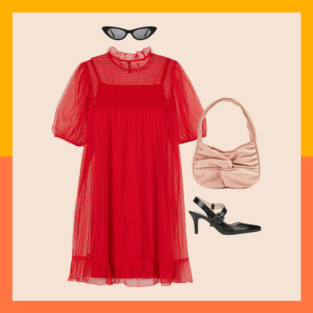 A red dress, black sunglasses, black heels, and a pink purse.
