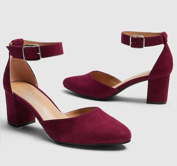 A pair of wide-fit block heels in dark red.