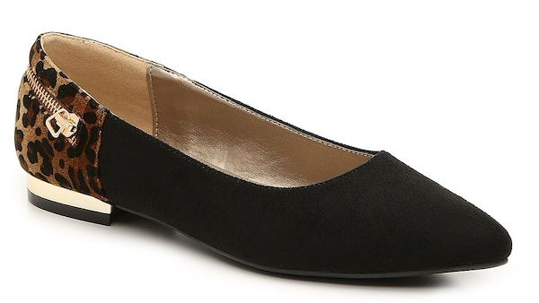 Wide-fit flats in black.