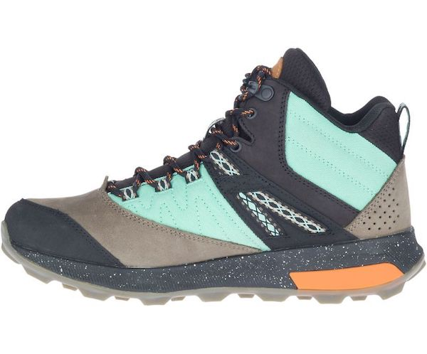 Wide-fit hiking boot in teal and gray.