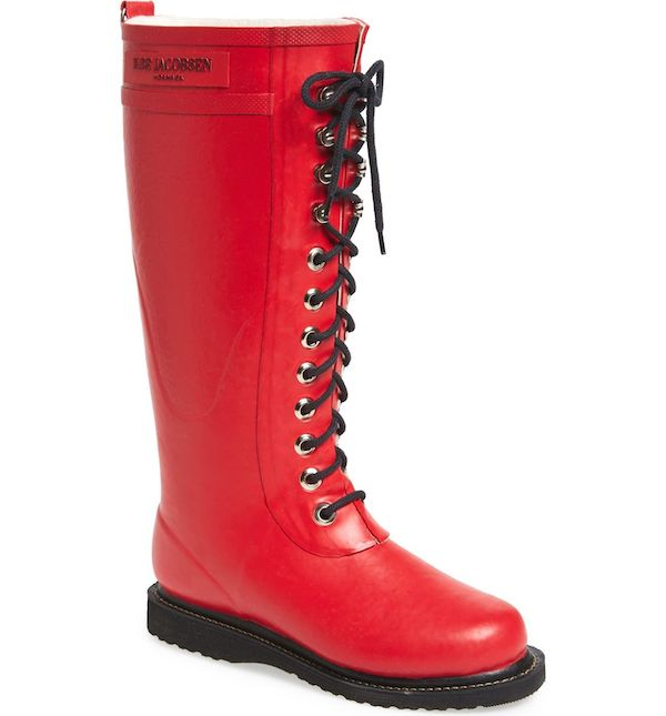 Wide-fit rain boots in red.