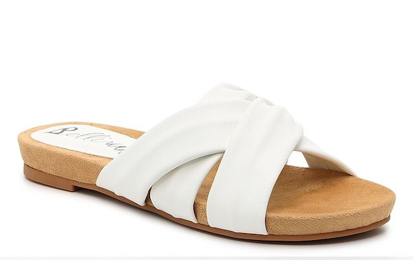 Wide-fit slide sandals in white.