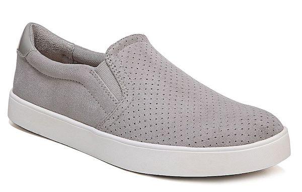 Wide-fit slip-on sneakers in gray.