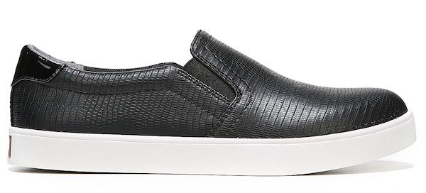 Wide-fit slip-on sneakers in black.