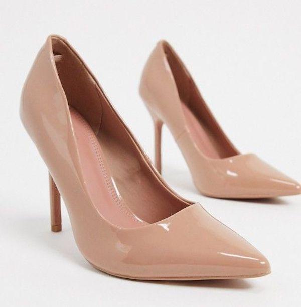Wide-fit beige heels.