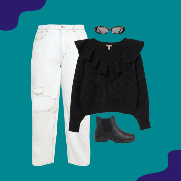 White jeans, black sweater, black booties, and tortoise sunglasses.