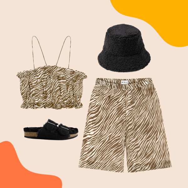 A collage with zebra print crop top and shorts, black bucket hat, and black sandals.