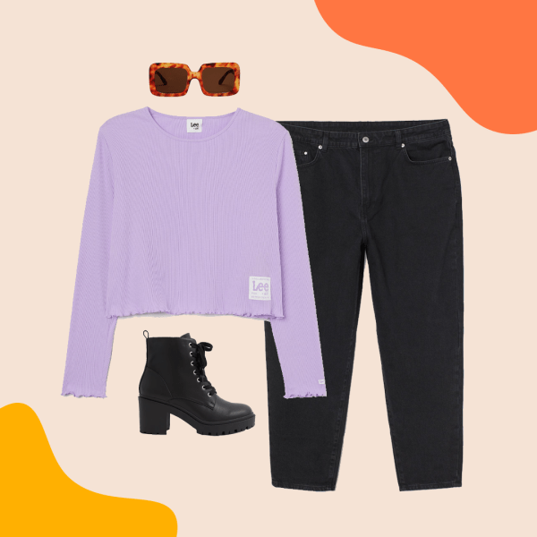A collage with a purple crop top, black jeans, black boots, and sunglasses.