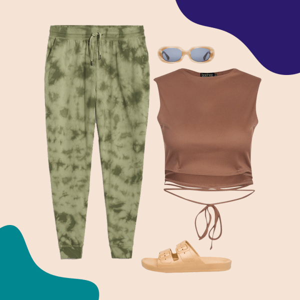 A collage with camouflage sweatpants, brown crop top, tan sandals, and sunglasses.