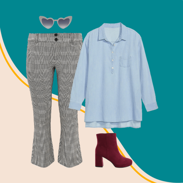 Plus size gingham pants, denim shirt, dark red booties, and gray heart-shaped sunglasses.