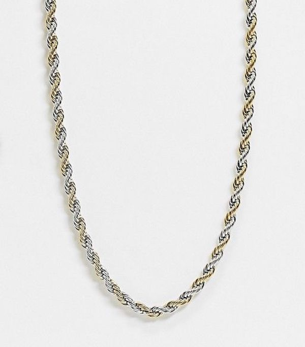 A plus-size necklace in gold and silver.