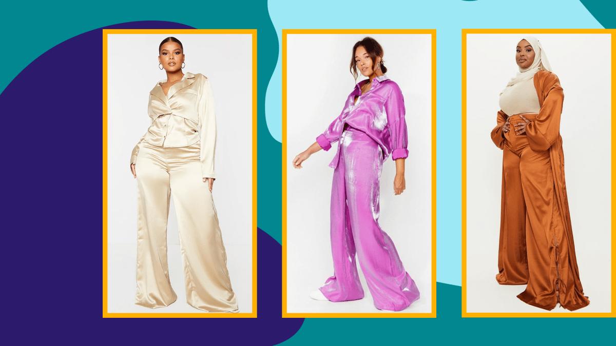 Three models wearing plus-size satin pants.