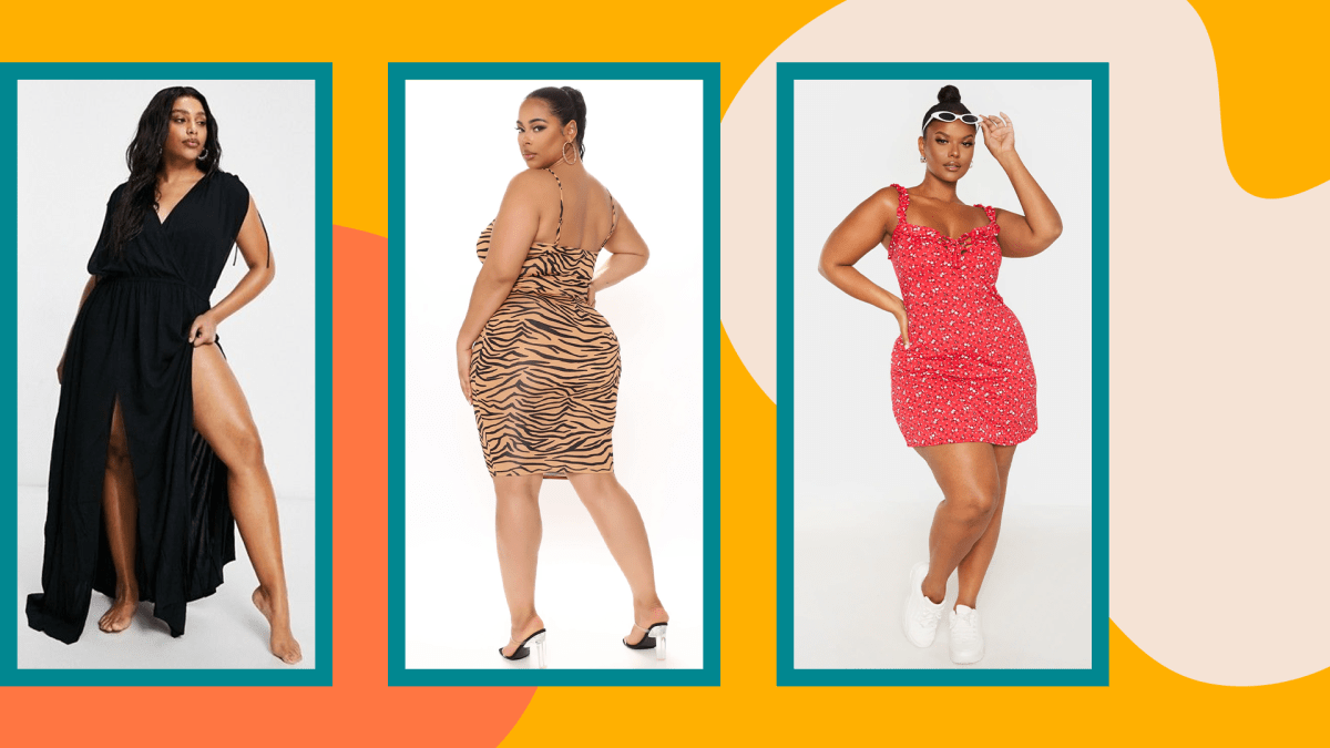 Three models wearing plus-size sexy summer dresses.
