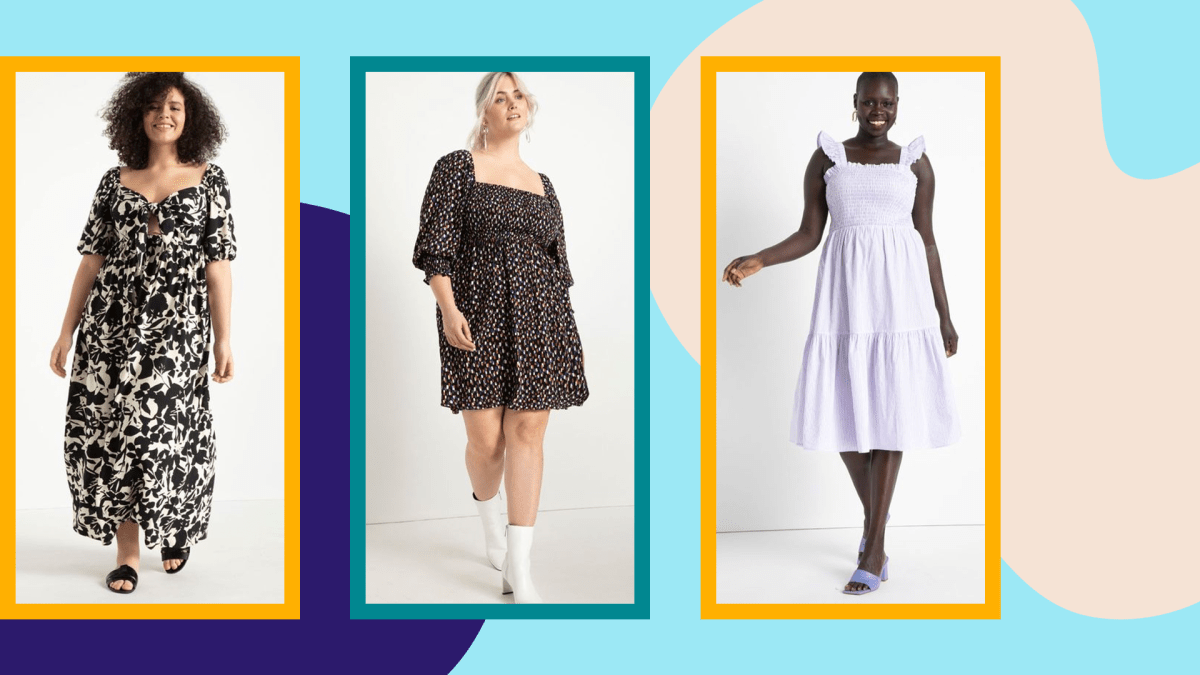 Three models wearing plus-size summer dresses.