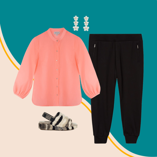 A collage with a pink blouse, slippers, black pants, and earrings.