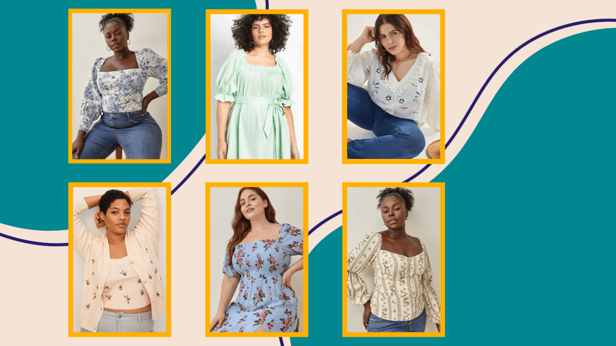 Six models wearing plus-size cottagecore trend clothes.