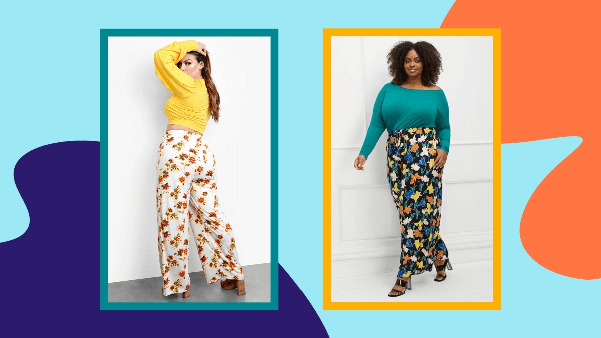 Two models wearing plus-size floral print pants.
