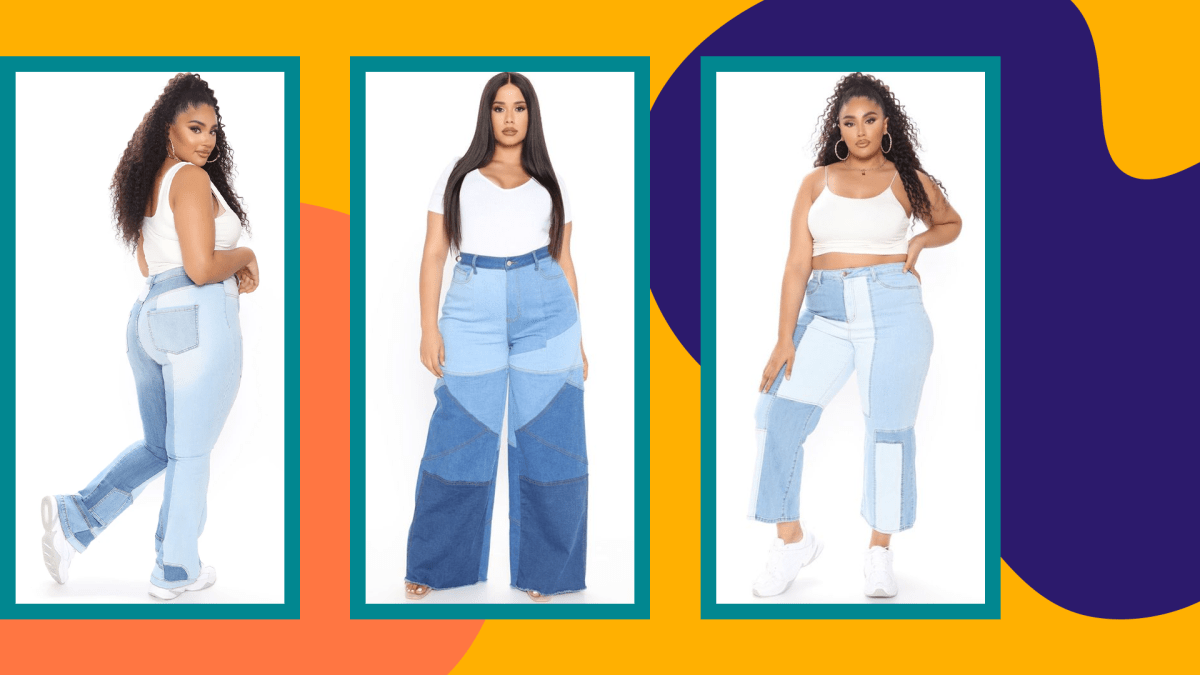Three models wearing plus-size patchwork jeans from Fashion Nova.