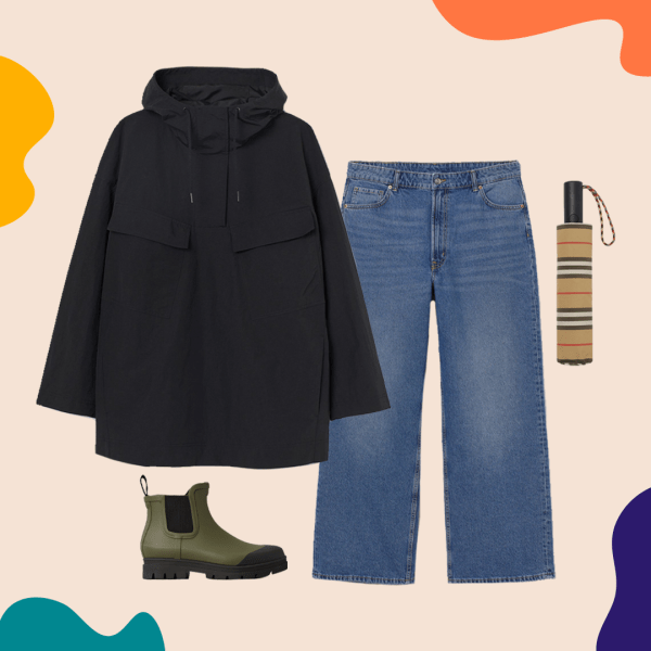 A collage with a black rain jacket, jeans, rain boots, and an umbrella.
