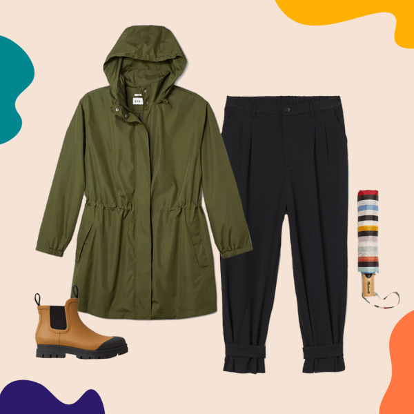 A collage with a green rain coat, black pants, rain boots, and an umbrella.