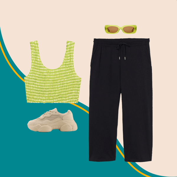 A collage with a green crop top, chunky sneakers, black joggers, and green sunglasses.