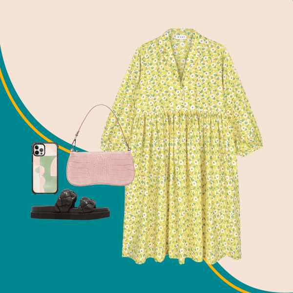 A collage with a green floral dress, pink purse, phone case, and black slide sandals.