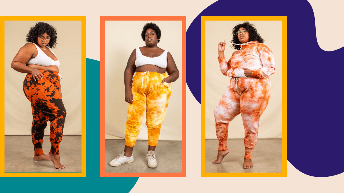 Three models wearing plus-size tie-dye sweatpants from Big Bud Press.