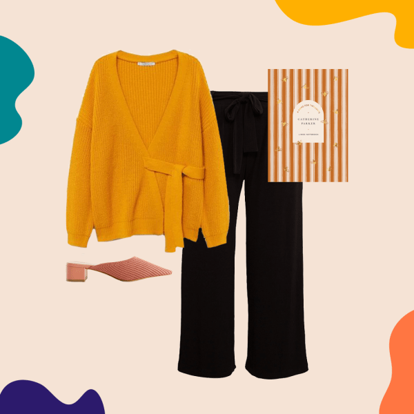 A collage with a dark yellow sweater, pink shoes, black pants, and a striped notebook.