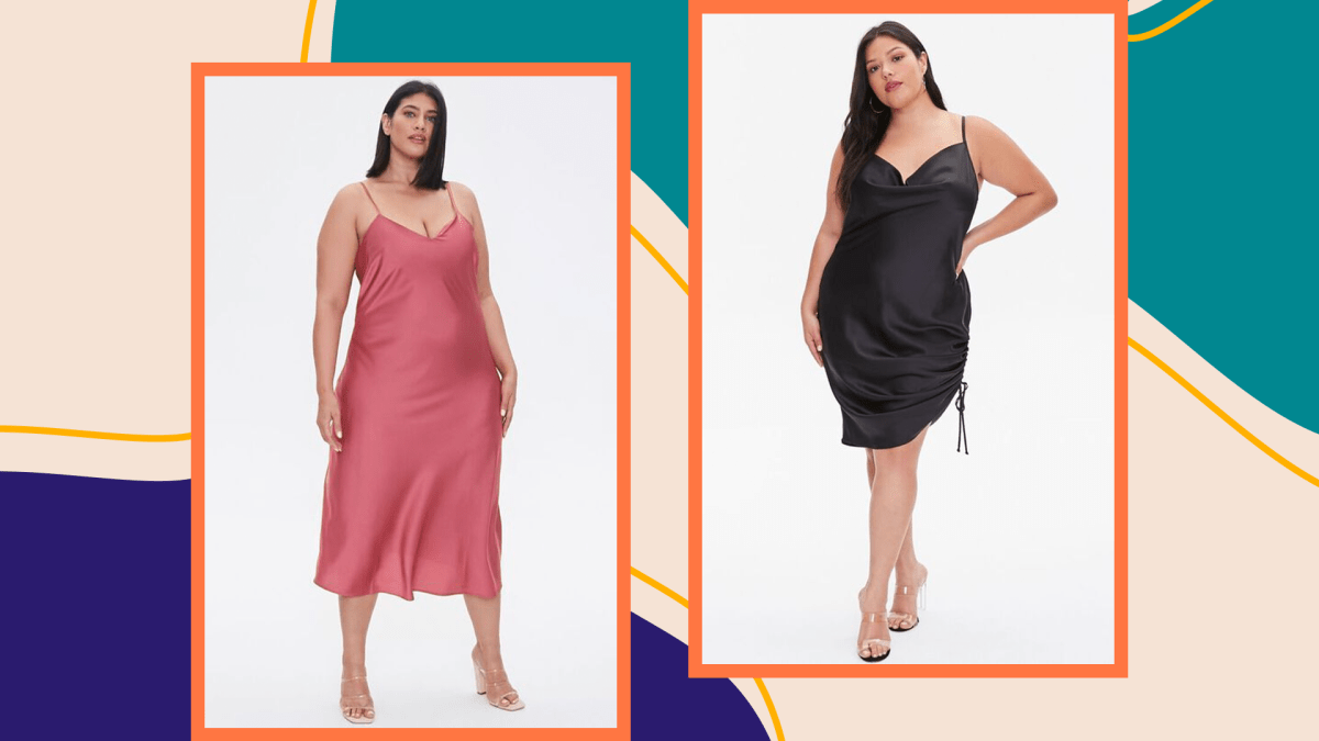 Two models wearing plus-size slip dresses.