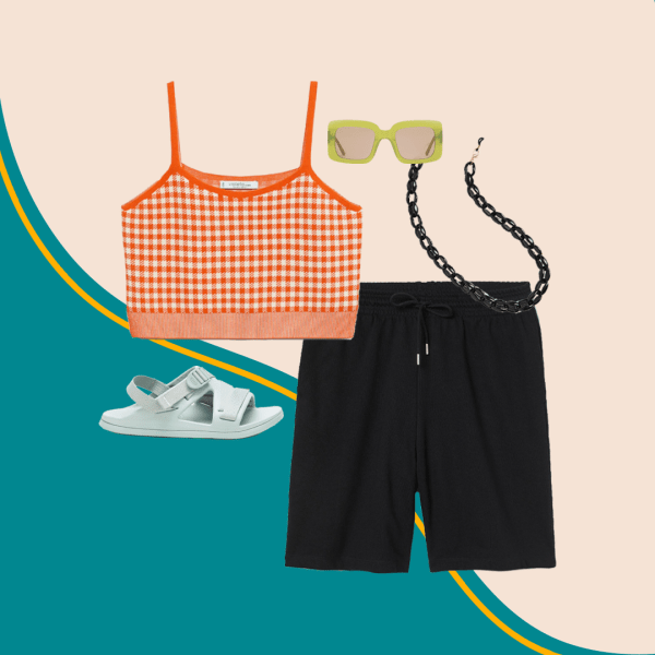 A collage with an orange crop top, black shorts, black sunglasses chain, green sunglasses, and mint green sandals.