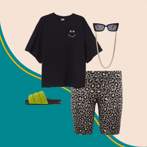 A collage with leopard print bike shorts, a black T-shirt, green slide sandals, a gold sunglasses chain, and black sunglasses.