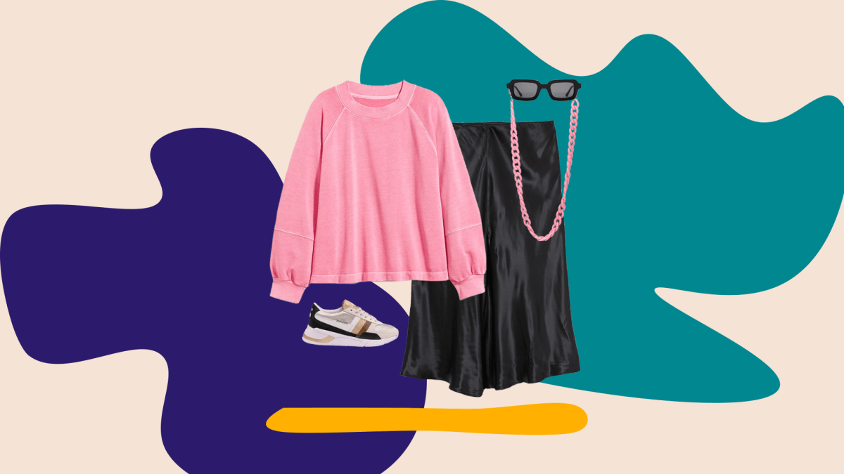 A collage with a pink sweatshirt, black skirt, sneakers, pink sunglasses chain, and black sunglasses.