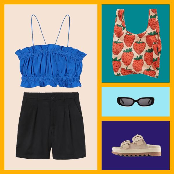 A blue tank top, black shorts, tote bag, black sunglasses, tan sandals.