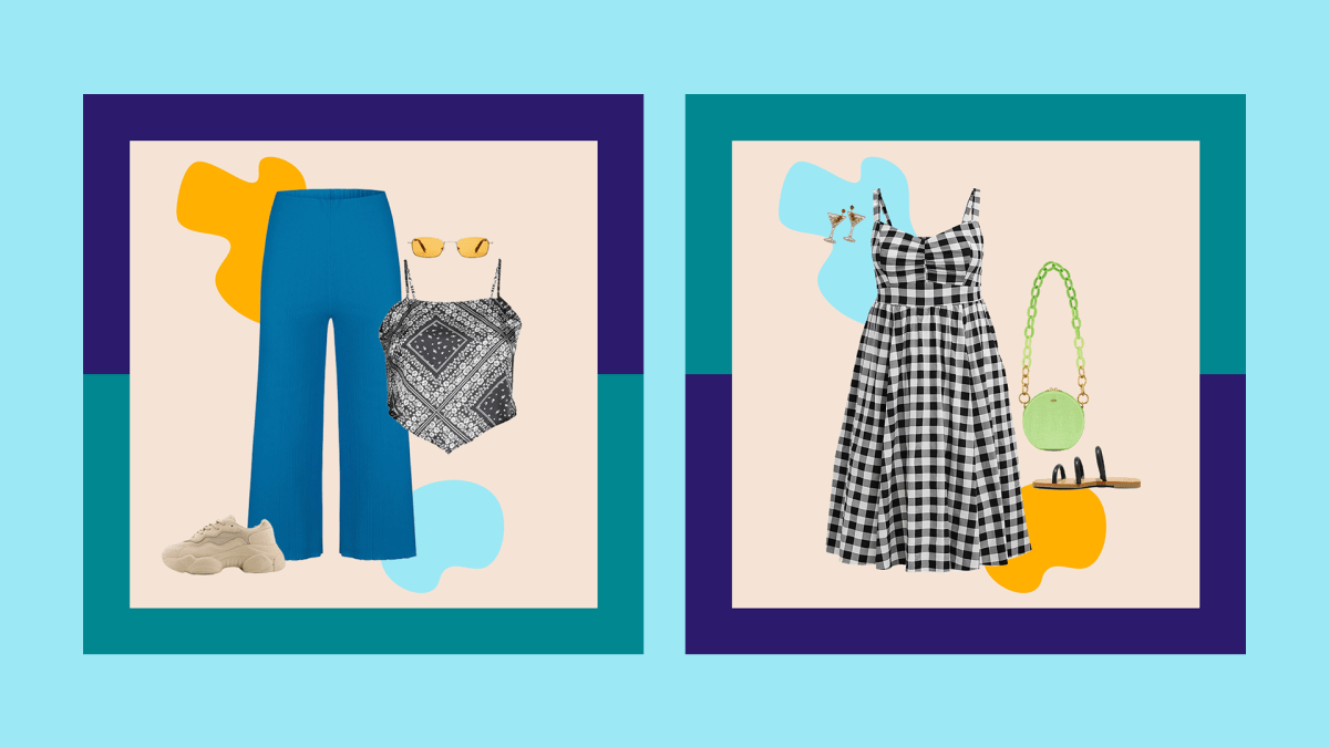 A collage with blue pants, a scarf top, sneakers, and sunglasses & A collage with a gingham dress, green purse, black sandals, and martini earrings.