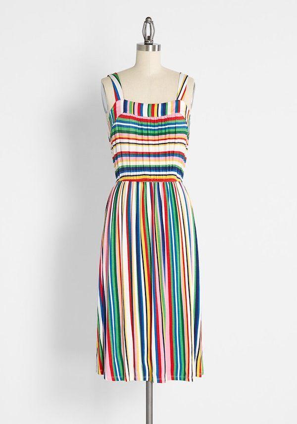 A plus-size rainbow dress.