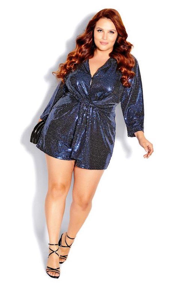A model wearing a plus-size sequin romper.