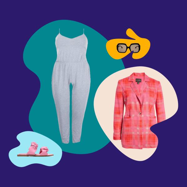 A lounge jumpsuit, blazer, sunglasses, and sandals.