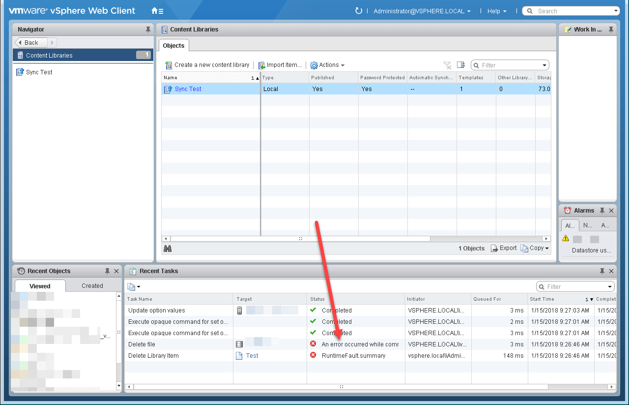 VMware Content Library Issue - Web Client