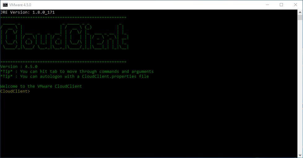 vRealize CloudClient 4.5.0 - Started Application