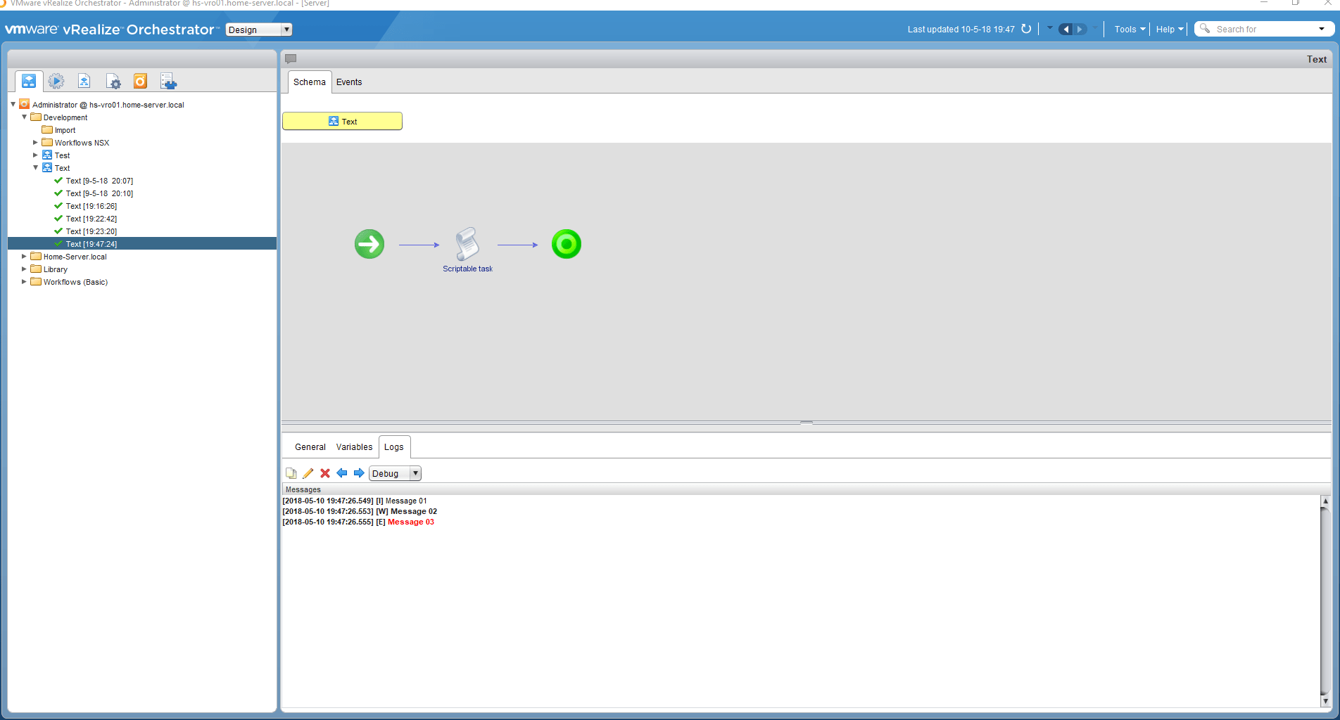 vRealize Orchestrator 7.4 - Output Working