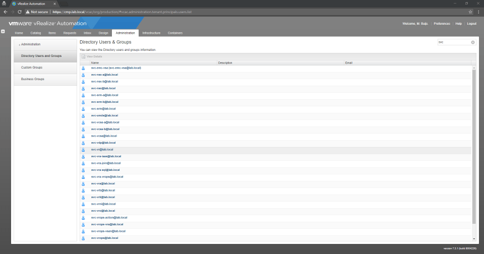 vRealize Automation GUI - Displaying Active Directory Users