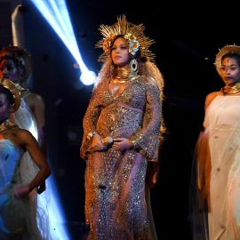 LOS ANGELES, CA - FEBRUARY 12: Recording artist Beyonce performs onstage during The 59th GRAMMY Awards at STAPLES Center on February 12, 2017 in Los Angeles, California.   Kevork Djansezian/Getty Images/AFP
