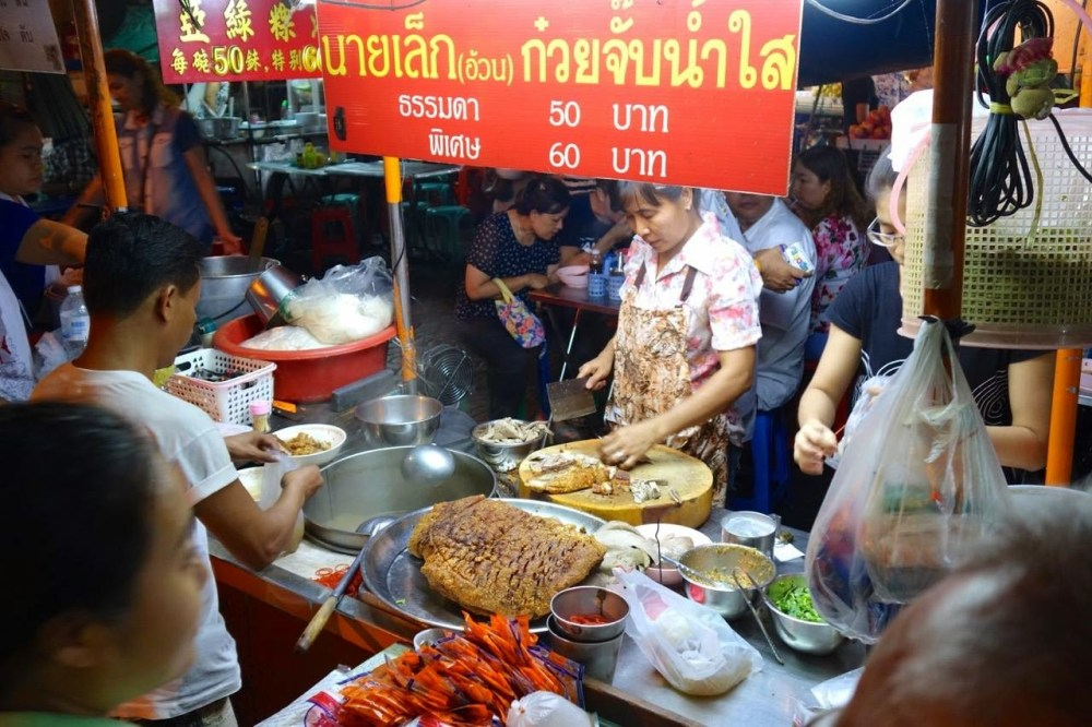 Photo of a busy food stand in Bangkok