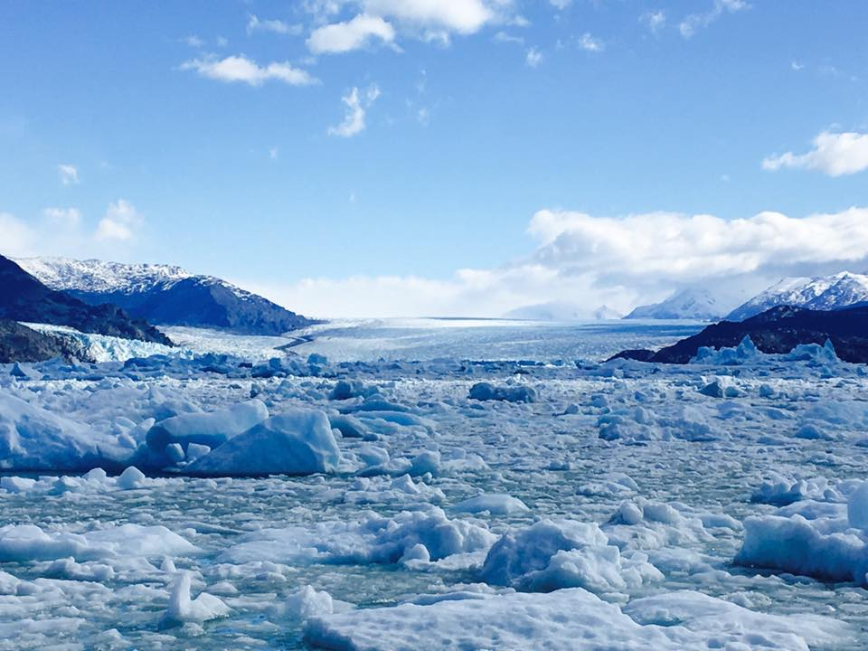 Photo of Upsala Glacier. Because of the sheer amount of broken ice we couldn't get particularly close.