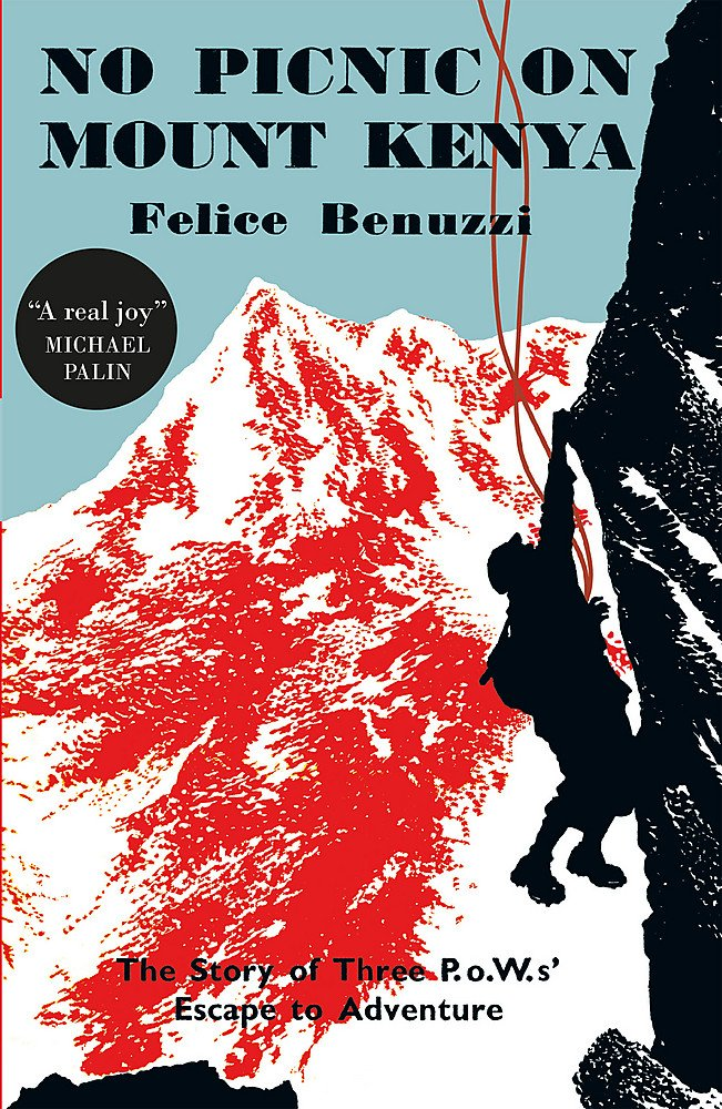 Photo of the cover of the Book No Picnic on Mount kenya, which is a drawing of a man in his harness, hanging off the side of vertical rock face.