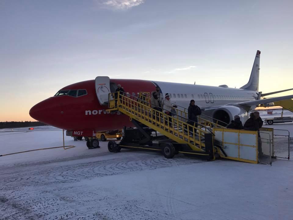 Plane on snowy tarmac